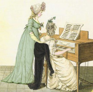 A piano lesson in the early 1800s